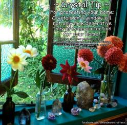✯ Crystal Tip: For Protecting Your Home ::•:: From Owl And Moon Crafters ✯: Stones Gems Crystals, Window Sill, Magick Gemstones, Healing Stones, Home Protection, Crystal Healing, Crystals Gemstones
