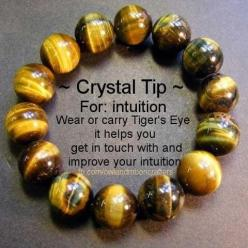 Crystal Tip: Tiger's Eye for Intuition.: Tiger Eyes, Crystals Minerals Gemstones, Crystals Stones, Crystal Healing, Tips, Tigers, Crystals Gemstones, Gemstones Minerals Crystals