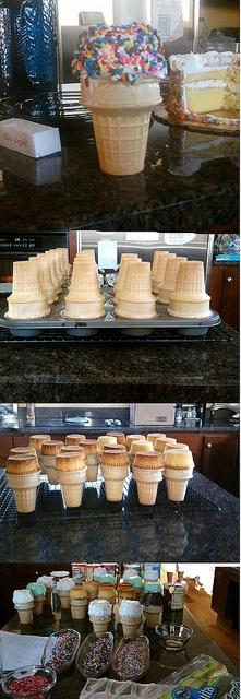 Cupcake Cones. :) This is a fun idea. Maybe not sprinkles...just frosting....: Amazing Cupcakes, Bought Cupcakes, Cupcake Cones Making, Cone Cupcakes Recipe, Cake Cone Cupcakes, Cupcake Cones Recipe, Cake Mix, Cupcakerecipes Food