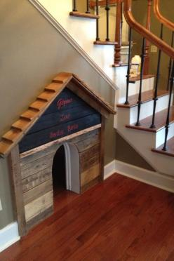 DIY Dog house built under the stair case. Love this but painted and prettier!: Dogs, Pet, Dog Houses, Dog Beds, Diy Dog House, Cat House, Animal