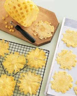 Dried Pineapple Flowers Recipe. Made of oven-dried pineapple, these edible embellishments add sweetness, crunch, and color to a dessert that's already vibrant. The thinner you cut the slices, the faster they will dry -- and the brighter their yellow w