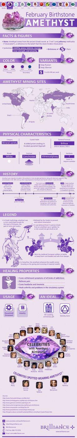 February babies, how much do you really know about your beautiful purple-hued birthstone? Discover more about the Amethyst on the blog: http://blog.brilliance.com/infographic/amethyst-the-february-birthstone: February Birthday, February S Birthstone, Crys