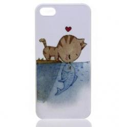 French Kiss Phone Case - Who would have thought it? A cat kissing a fish? It's love at first sight between these star-crossed lovers. A tiny tabby has fallen for a surprising catch and the whole love story is captured on this iPhone 5/5S case. So, you can
