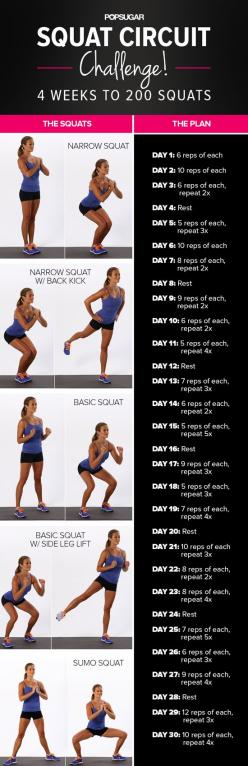 Give your gams some love with this 4-week squat challenge.: Squat Challenge, Fitness, Squats, Exercise, Squat Circuit, Work Out, 30 Day, Workout