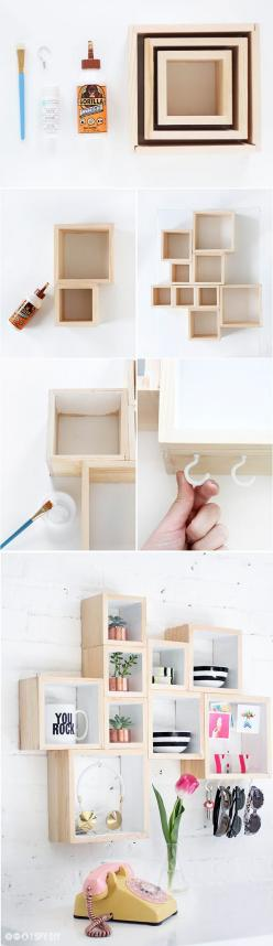 here's an idea for shelving with character: box frames.: Diy Frame, Home Decoration, Diy Wall Frame, Bedroom Storage Idea, Cute Storage Idea, Diy Wall Decoration
