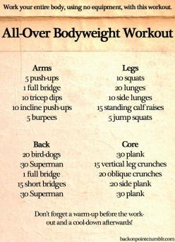 Here's another bodyweight workout for your whole body! I didn't have space to include a warm-up and cool-down, but they're important too.: Body Workouts, Full Body, Work Outs, Exercise, Bodyweight Workout, Health, Fitness Workout, Body Weight Workouts