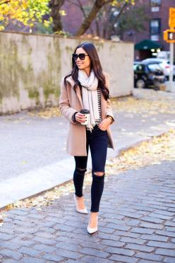 Kat Tanita of With Love From Kat wears J Brand distressed jeans with SJP by Sarah Jessica Parker grey suede pumps from Nordstrom, and a Joie sweater in NYC.: Nyc Winter Outfit, Distressed Jeans, Grey Suede, Fashion, Nyc Outfit, Peacoat Outfit, Womens Peac