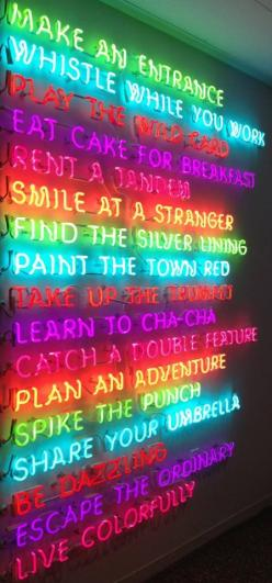 KATE SPADE NY shop display 'live colorfully' my favorite line - Spike the punch: Rainbow Quote, Kate Spade Quote, Quotes, Live Colorfully, Neon Quote, Neon Inspiration