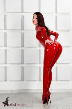 Markissa Moore of fetisheels.com in a red latex catsuit and red ballet heels. Model: Markissa (https://www.facebook.com/MarkissaMoore). Photo: Dmitry Belikov. Catsuit: Fantastic Rubber (http://www.fantasticrubber.de/).: Cute Latex Girls, Sexy Latex Girls,