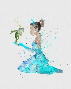 Princess Tiana Watercolor Art - VIVIDEDITIONS: Disney Princess Watercolor Art, Disney Watercolor Art, Modern Day Princesses, Disney Princesses, Princess Tiana, Tiana Watercolor, Disney Watercolors, Disney Art Watercolor, Watercolor Princesses