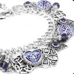 Purple Celtic Charm Bracelet: Purple Celtic, Charm Bracelets, Celtic Knot, Silver Charms