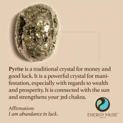 Pyrite is a traditional crystal for money and good luck. It is a powerful crystal for manifestation, especially with regards to wealth and prosperity. It is connected with the sun and strengthens your solar chakra. #pyrite #crystals #healing: Gemstone, Cr