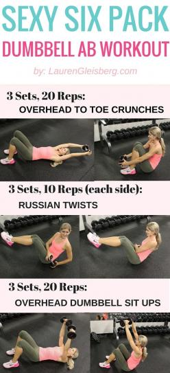 SEXY SIX PACK DUMBBELL AB WORKOUT #LGBeautyAndBooty Challenge Week 2, Day 3 - LaurenGleisberg.com: Exercise Workouts, Hiit Cardio, Health Fitness, Fitness Body Workout, Dumbbell S Abs, Lgbeautyandbooty Challenge, Dumbbell Ab, Ab Workouts