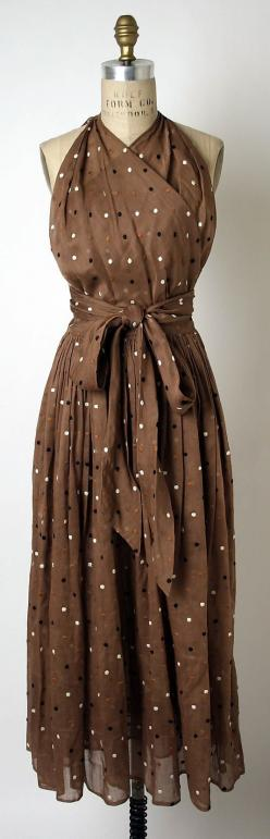 Silk Dress by Claire McCardell, circa 1948: Silk Dress, Fashion, Summer Dress, Mccardell Dress, Vintage Dresses, Claire Mccardell, Clothing Women, 1940'S Dress
