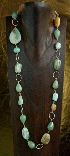 silver, aquamarine, chalcedony gemstone necklace by Stacey Smith of duchesssmith on etsy.com: Gemstone Necklaces, Jewelry Necklaces, Beads Gemstones, 2Dayslook Necklaces, Chalcedony Gemstone, Gemstone Bead Necklace, Aquamarine, Jewelry Gemstones Rocks Bea