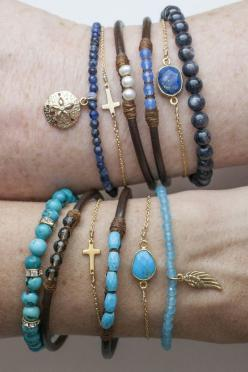 Stack Happy Bracelets | Wallin & Buerkle: Bracelet, Bracelets Ocean Colors, Perfect Gems, Craft, Bracelets Jewelry, Jewelry Bracelets, Beads, Leather Bracelets Ocean, Gems Leather
