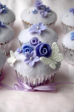 Stunning Fancy Floral Cupcakes from http://omgitscindy.tumblr.com/post/2564574037/butterfly-cupcake-3: Cup Cakes, Sweet, Food, Wedding Cupcakes, Cupcake Ideas, Purple Cupcake, Pretty Cupcake, Wedding Cake
