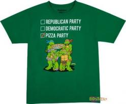 TMNT Pizza Party T-Shirt: Vote Pizza, Turtles Shirts, T Shirt, Parties, Teenage Mutant Ninja Turtles, Party Shirts, Shirts Vote, Pizza Party, Geek Shirts
