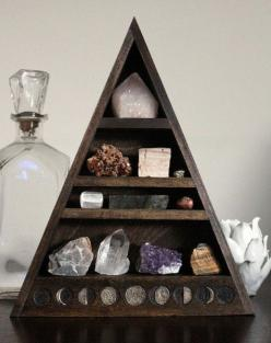 Total DIY crystal 'tree' - can store photos, rocks, gems, trinkets, thimbles, mini-dolls, etc.  Easy to make.: Triangle, Stones Crystals Wicca, Crystals And Stones Decor, Shelves, Display, Things, Diy, Moon Phase