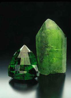Two magnificent examples of peridot. The cut stone at left is an incredible 172.53 cts. The crystal at right is equally rare. Both are from Pakistan. Stone: Pala International; crystal: William Larson collection. Photo: Jeff Scovil: Crystals, Gemstones, G