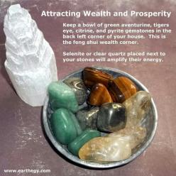 Wealth & Prosperity ~ Keep a bowl of green adventurine, tiger's eye, citrine and pyrite gemstones in the bacl left corner of your house. This is the feng shui wealth corner. Selenite or clear quartz placed next to your stone will amplify their ene