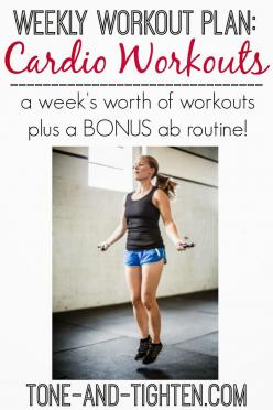 Your free weekly workout plan- this one has 5 cardio workouts! Tone-and-Tighten.com #health #fitness #workoutplan: Cardio Workouts, Health Fitness, Workout At Home, Workouts Exercise, Fitness Workoutplan, Weekly Workouts, Weekly Workout Plans