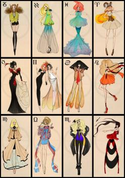 Zodiac Fashion By CdClanc on deviantART (from left to right)  1. Capricorn - Goat  2. Aquarius - Water Bearer  3. Pisces - Fishes  4. Aries - Ram  5. Taurus - Bull  6. Gemini - Twins  7. Cancer - Crab  8. Leo - Lion  9. Virgo - Virgin  10. Libra - Scales