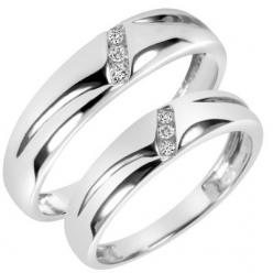 1/10 Carat T.W. Diamond His And Hers Wedding Band Set 10K White Gold: Wedding Band Sets, 1 10 Carat, Cut Diamond, Wedding Bands, White Gold, 10K White, Carat T W, Round Cut