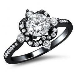 1.25ct Round Diamond Engagement Ring 18k Black Gold Vintage Style with a .70ct Center Diamond and .55ct of Surrounding Diamonds: Diamond Engagement Rings, Engagementring, Style, 18K Black, Wedding, Round Diamonds, Black Diamond, Black Gold