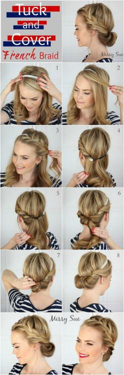 10 Easy Hairstyles For Bangs To Get Them Out Of Your Face | The Tuck and Cover French Braid: French Braids, Hairstyles, Hair Styles, Hairdos, Hair Do, Updo, Tuck And Cover