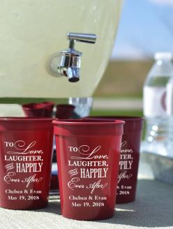 12 Ounce shatterproof plastic stadium cups personalized with choice of wedding design and up to 4 lines of custom print are the perfect size for serving beverages to kids and mixed drinks to adults at your wedding reception. Features include dishwasher sa