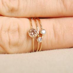 //: 14K Gold, Stacking Rings, Dainty Ring, Three Stones