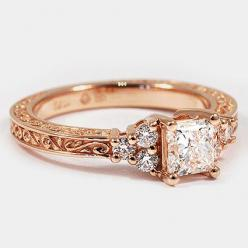 14K Rose Gold Adorned Trio Diamond Ring // Set with a 0.60 Carat, Princess, Very Good Cut, G Color, VS1 Clarity Diamond #BrilliantEarth: Engagementring, Wedding Ring, Diamond Rings, Trio Diamond, White Gold, Engagement Rings, Rose Gold