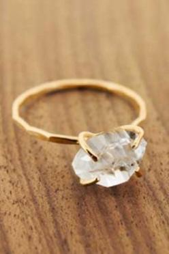 "16 Engagement Rings That Have Us Saying ""I Do!""  Melissa Joy Manning Herkimer Diamond Ring, $350, available at Melissa Joy Manning.  (at this price, I might be saying ""I Do"" to myself!): Raw Diamond Ring, Manning Herkimer, Diamond Rings, M"