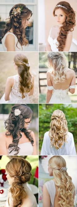 16 Gorgeous Half Up, Half Down Hairstyles for Brides - Simply Elegant: Half Up, Down Hairstyles, Peinados Boda, Peinados Xv, Hairstyles For Brides, Hair Styles For Wedding, Wedding Hairstyles, Wedding Hairstyles, Brides Hairstyles