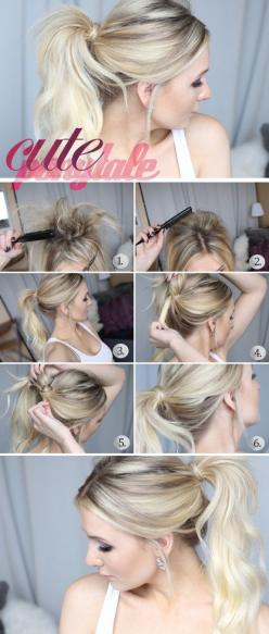 18 Cute and Easy Hairstyles that Can Be Done in 10 Minutes - Style Motivation @carolinenebrija: Ponytail Tutorial, Pony Tail, Hairstyles, Messy Ponytail, Hair Styles, Hair Tutorial, Cute Ponytails