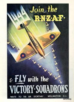 1944 Royal New Zealand Air Force Fly with the Victory Squadrons Poster: War Propaganda, Propaganda Posters, Vintage Propaganda, Vintage Poster, Wwii Posters, 1944 Royal, Recruitment Poster