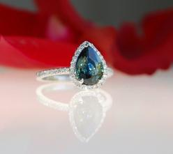 2.1ct pear Peacock green blue color change sapphire diamond ring Platinum 900 engagement ring: Green Blue, Blue Color, Blue Diamond Engagement Ring, Blue Sapphire Wedding Ring, Sapphire Diamond Ring, Blue Sapphire Engagement Ring, Engagement Rings, Peacoc