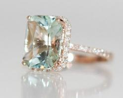 2.67ct Seafoam blue green Aquamarine halo diamond ring emerald cut 14k rose gold engagement ring: Aquamarine Engagement Ring, Emerald Cut Engagement Ring, Blue Diamond Ring, Rose Gold Engagement Ring, Halo Diamond Ring, Green Emerald Engagement Ring, Blue