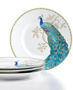 222 Fifth Dinnerware, Set of 4 Peacock Garden Salad Plates - Casual Dinnerware - Dining & Entertaining - Macy's: Casual Dinnerware, 222, Peacocks, Gardens, Peacock Garden, Garden Salad, Dinnerware Sets, Salad Plates, Products