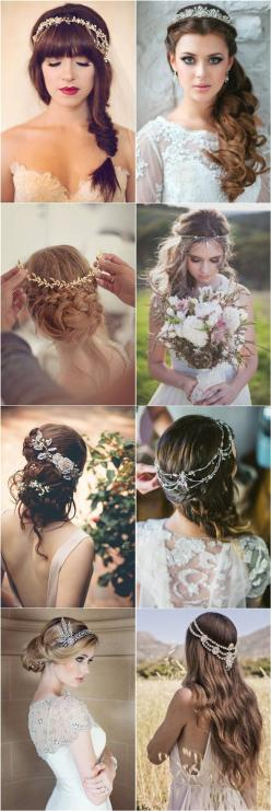 25 Amazing Wedding Hairstyles with Headpiece | http://www.deerpearlflowers.com/amazing-wedding-hairstyles-with-headpiece/: Boho Wedding Hairstyle, Hairstyles With Headband, Bridal Long Hairstyle, Long Wedding Hairstyle