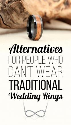 28 Beautiful Alternatives For People Who Can't Wear Traditional Wedding Rings: Alternative Wedding Rings, Traditional Weddings, Rings Wedding Bands, Wedding Ideas, Engagement Rings Wedding, Emerald Wedding Rings, Men'S Wedding Rings, Alternate Wed