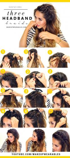 3 Easy Headband Braid #Hairstyles for Lazy Girls | Cute Braided Hair Tutorial: Braided Hair Tutorial, Hair Style, Lazy Girl, Half Up Hairstyle