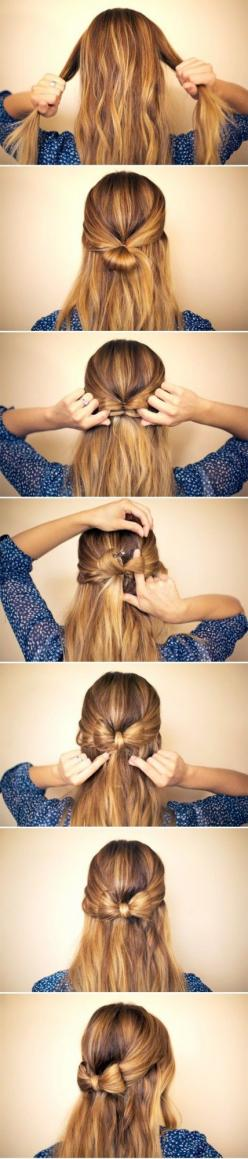32 Amazing and Easy Hairstyles Tutorials for Hot Summer Days | Style Motivation: Hairbow, Hairstyles, Hairdos, Hair Styles, Hair Tutorial, Hair Do, Hair Bows