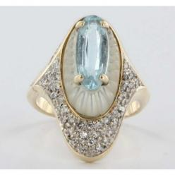 """Alouette"" ~ vintage azure topaz and mother-of-pearl ring with pave diamonds in a 14k gold setting from French art deco artist and designer Romain de Tirtoff (Erté)....Art Deco: Cocktail Rings, Dream, 14K Gold, Gold Diamond, Jewels, Diamond Topaz,"