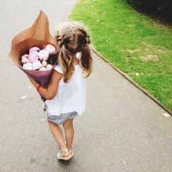 """Ivy and I walked up to the village to buy flowers and she insisted on carrying them (almost) all the way home."": Girls, Future, Baby Girl, Buy Flowers, Kids, Hair, Photo, Kiddo"