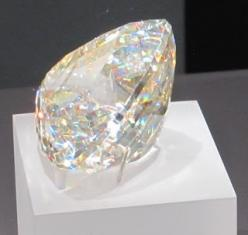 """Light of the Desert"", the world's largest faceted Cerussite gem (898 carats), Royal Ontario Museum.  Cerussite is one of the only gems with adamantine (diamond-like) luster.: Gemstone, 898 Carats, Desert, Faceted Cerussite, Royal Ontario, Gem"