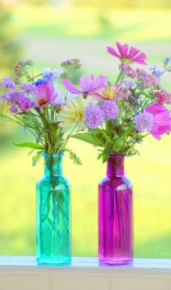 """Plant your own garden and decorate your own soul, instead of waiting for someone to bring you flowers"" ~ Veronica A. Shoffstall • photo: Ike06~ on Flickr: Ideas, Colors, Beautiful, Bottle, Flowers, Pretty, Garden, Colored Glass"