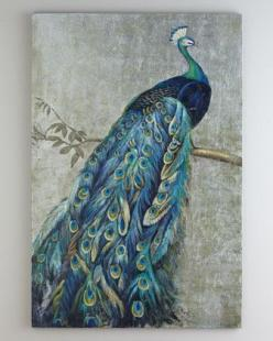 """Proud Peacock"" Painting at Horchow. this would go lovely with my family room. back ordered!: Wall Art, Peacock Painting, Living Room, House, Things Peacock, Paintings, Pretty Peacocks, Peacock Decor"