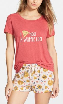 "'I <3 you a waffle lot!"" This cute tee and printed shorts are perfect for weekend lounging.: Spring Summer Style, Printed Shirts, 2015, Closet Fashion, Graphic Tops, Graphic Tees, Loves Waffles, Cute Tees"